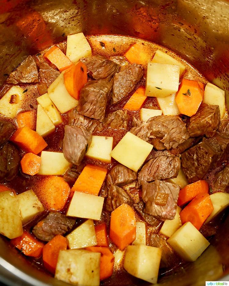 beef potatoes carrots in instant pot for beef stew