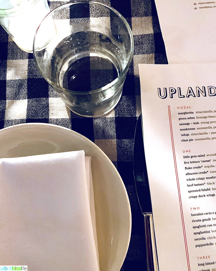 place setting at Upland NYC restaurant