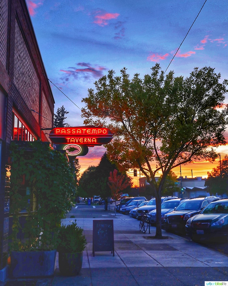 Passatempo restaurant walla walla at sunset