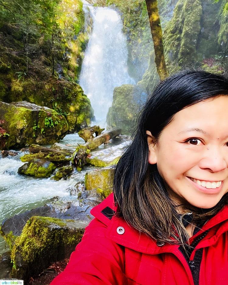 Marlynn Schotland at Susan Creek Falls waterfall
