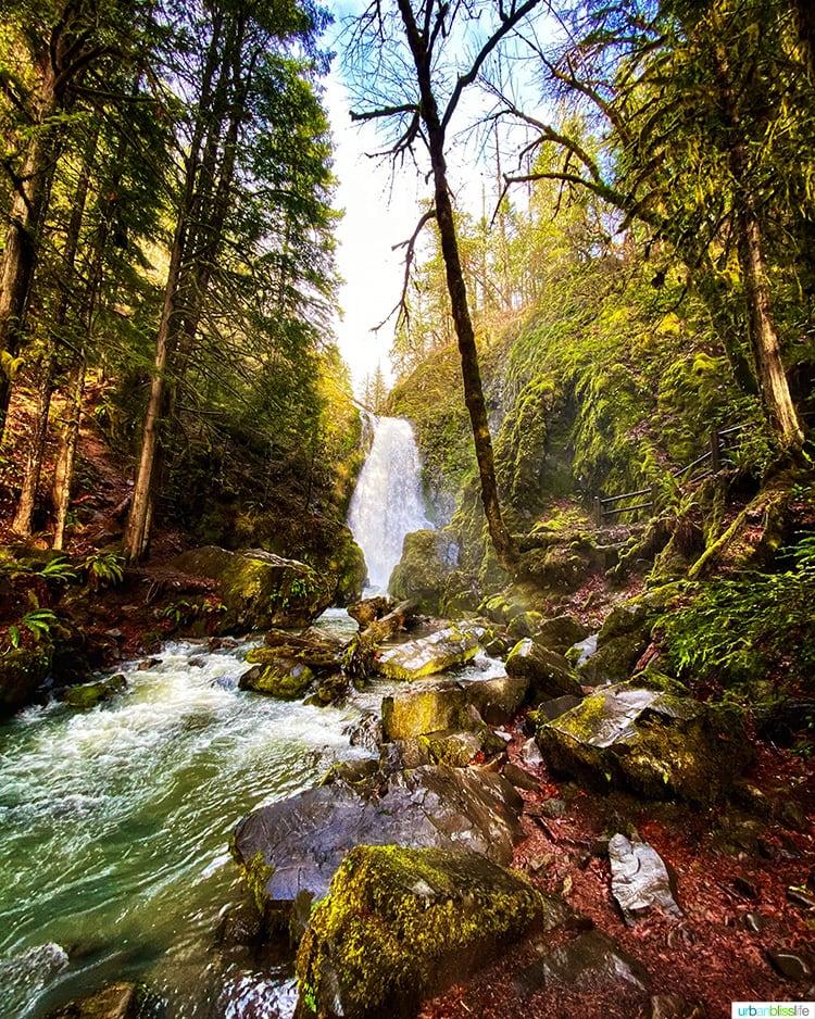 far away shot of this Oregon waterfall