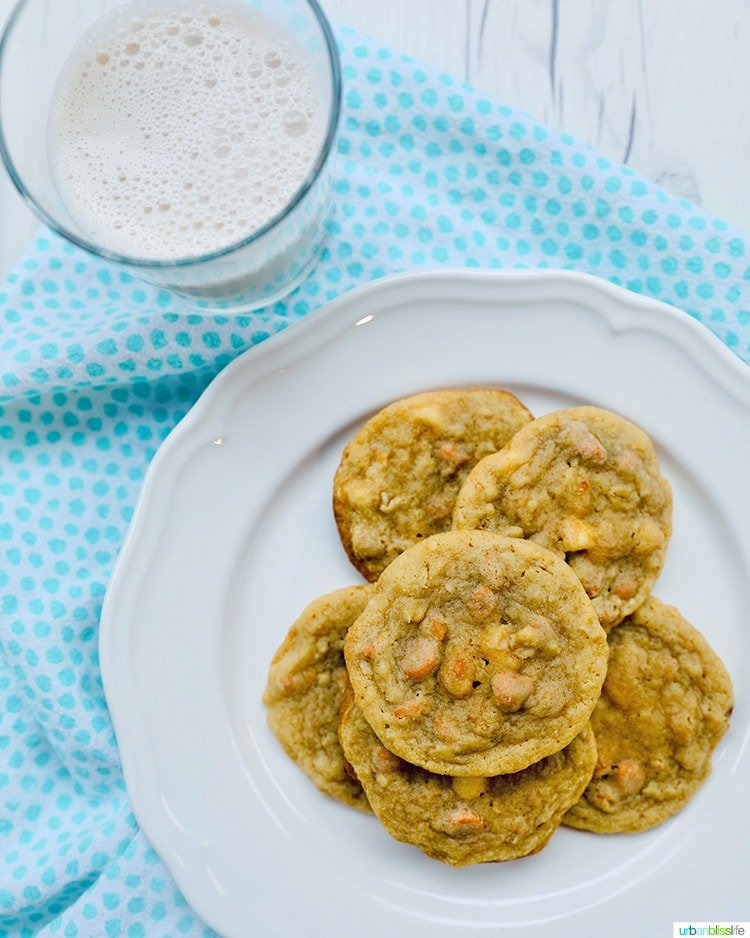 plate of butterscotch cookies and milk