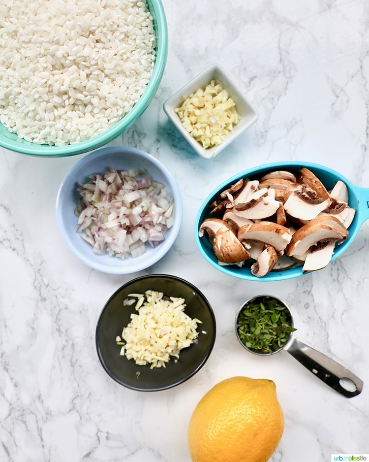 ingredients for Instant Pot Mushroom Risotto
