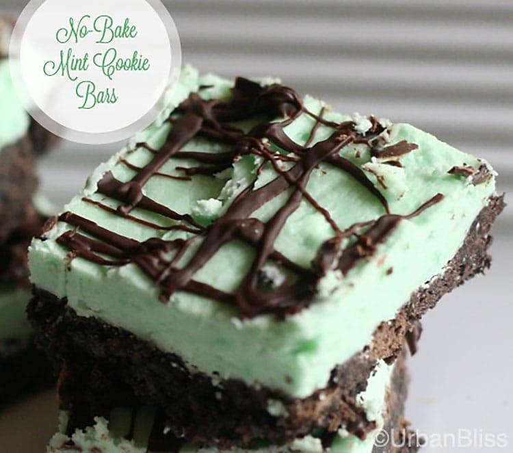 chocolate mint no bake cookie bar recipe on UrbanBlissLife.com