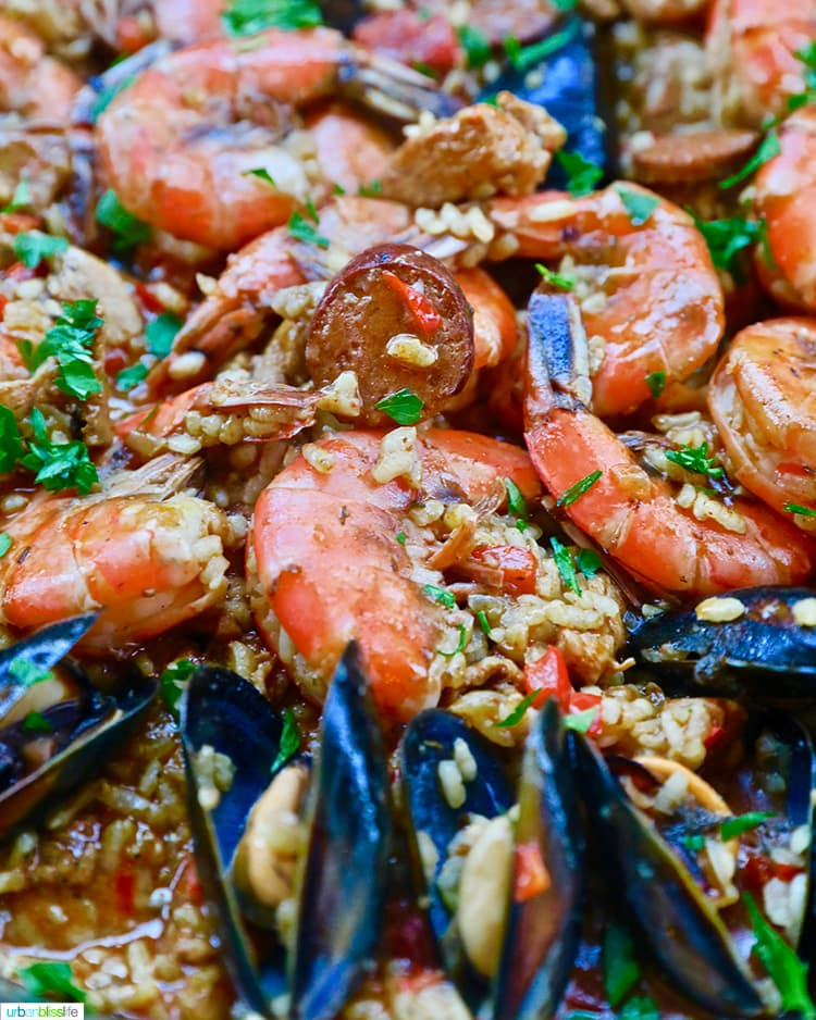 closeup of shrimp paella with mussels