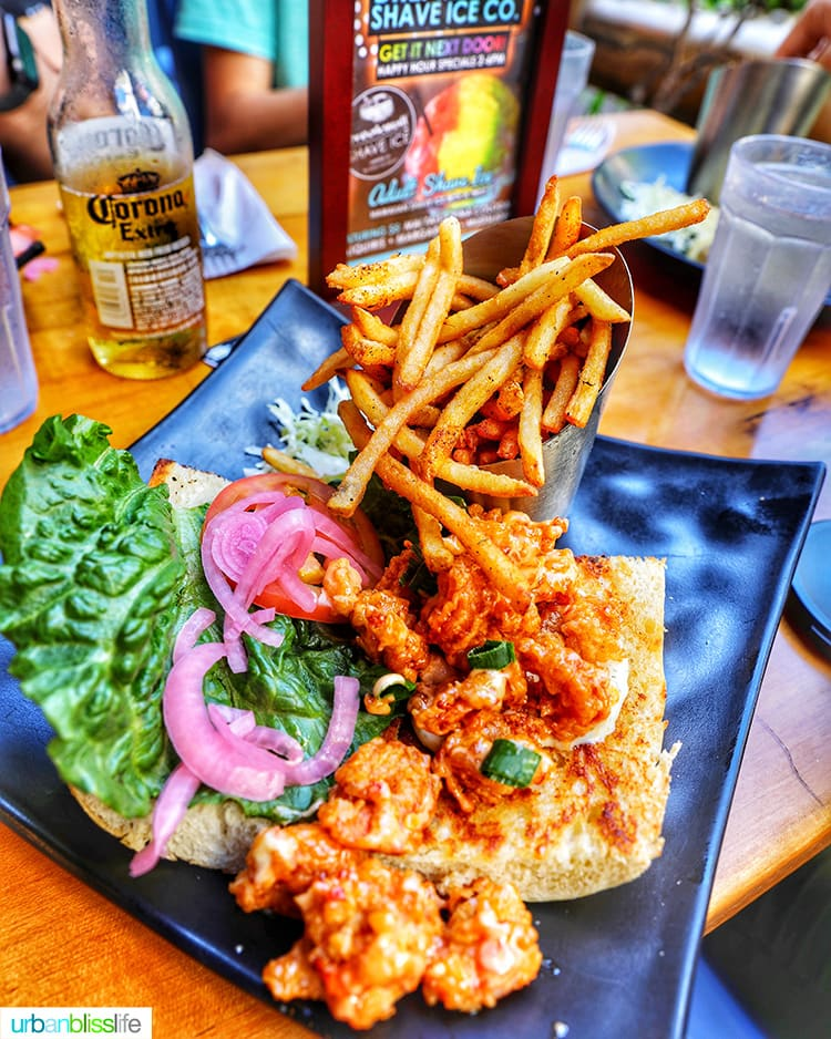 Best places to eat in Maui: Shrimp Po Boy sandwich from Down the Hatch Maui