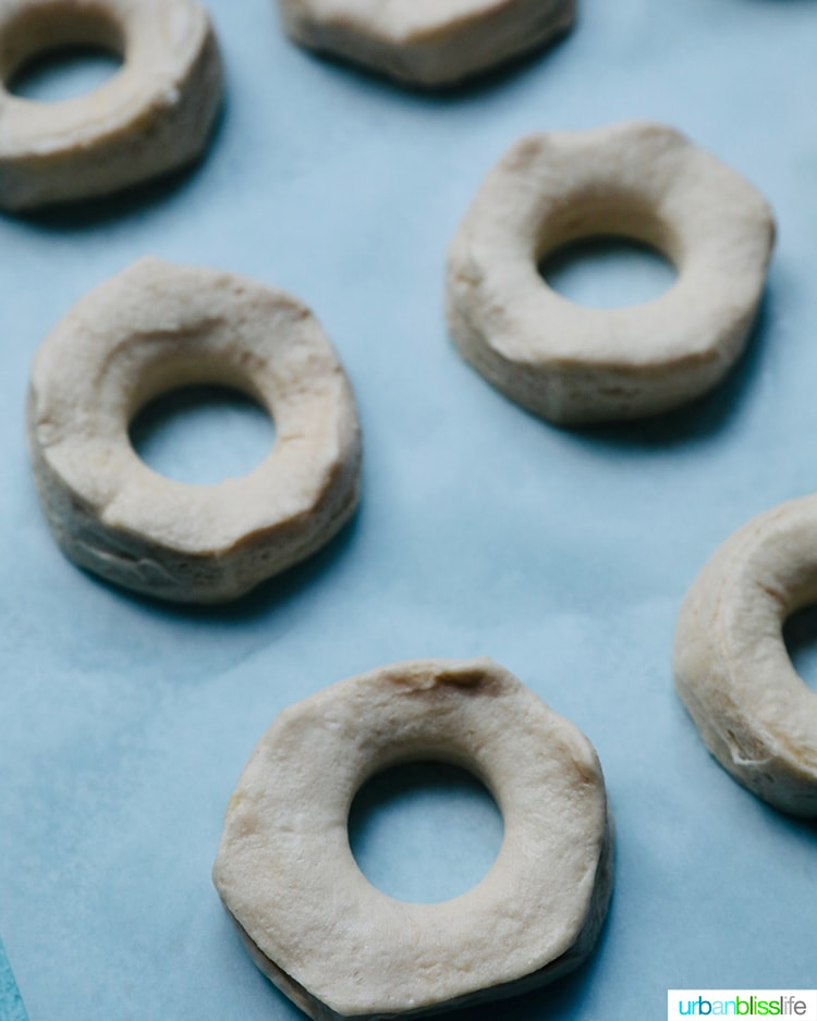 biscuit dough cut out and ready to air fry