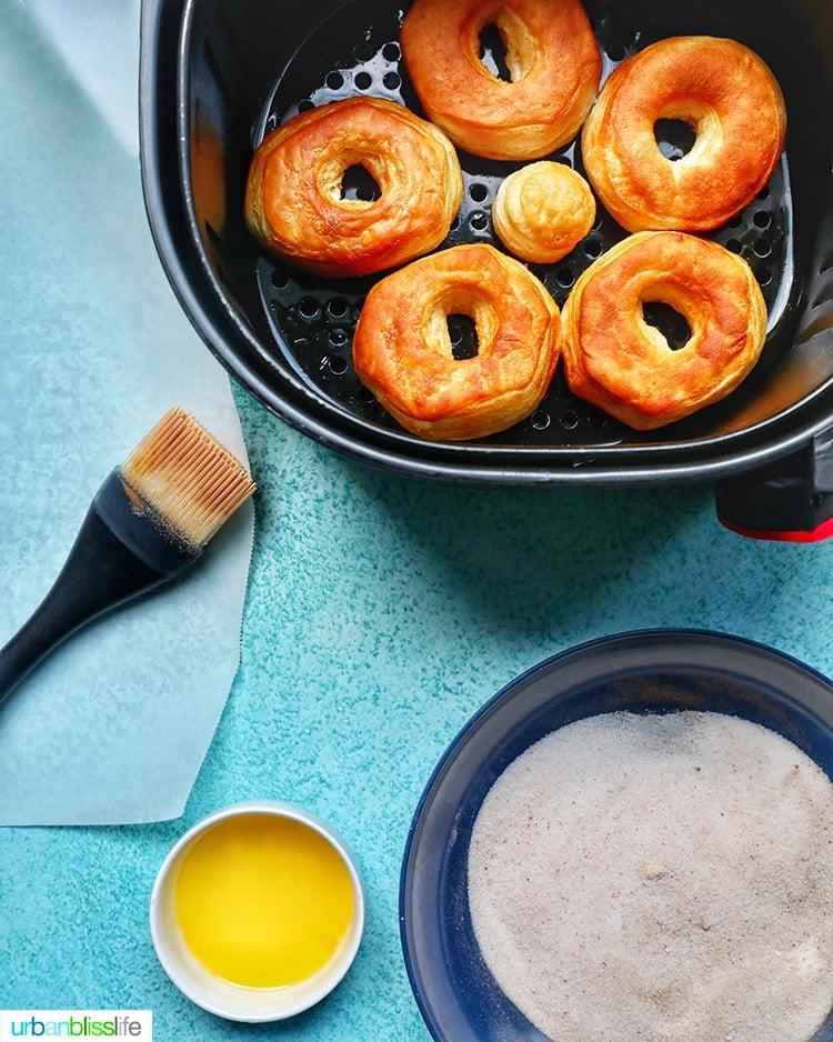 air fried donuts ready for cinnamon sugar