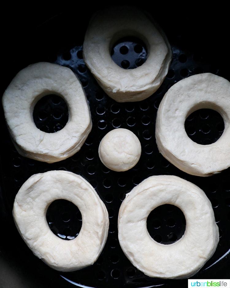 donut shapes in air fryer basket