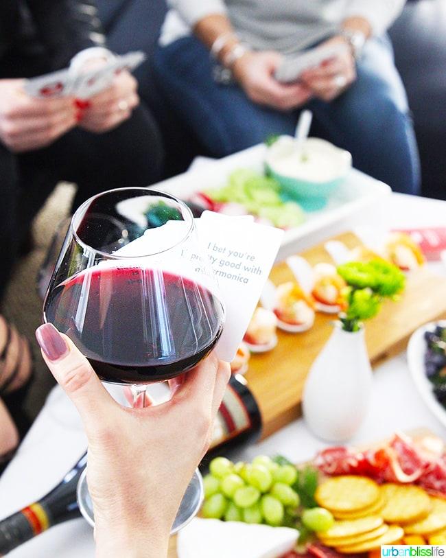 red wine glass cheers game night
