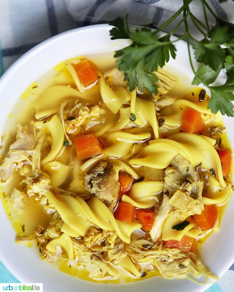 closeup bowl of Instant Pot Chicken Noodle Soup