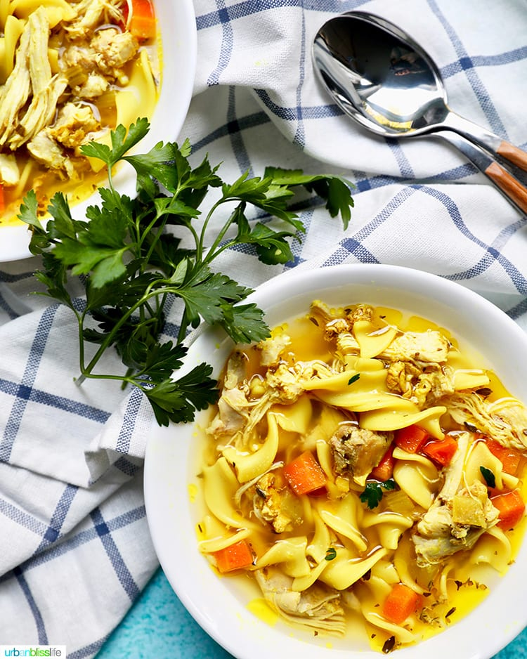 two bowls of immune boosting soup instant pot