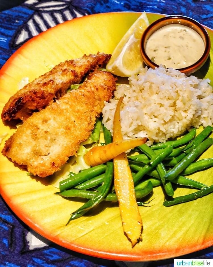 kids' menu fish at Mama's Fish House in Maui