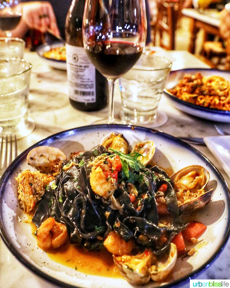 Best places to eat in Maui: squid ink pasta at Matteo's Osteria in Maui