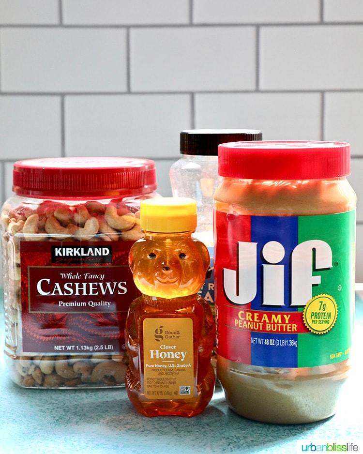 nuts, honey, peanut butter