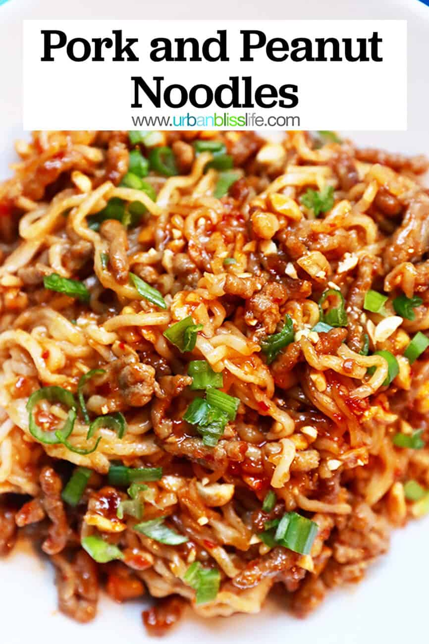 pork and peanut dragon noodles with text overlay