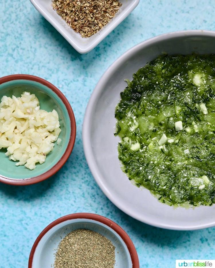 closeup of ingredients for vegan tzatziki