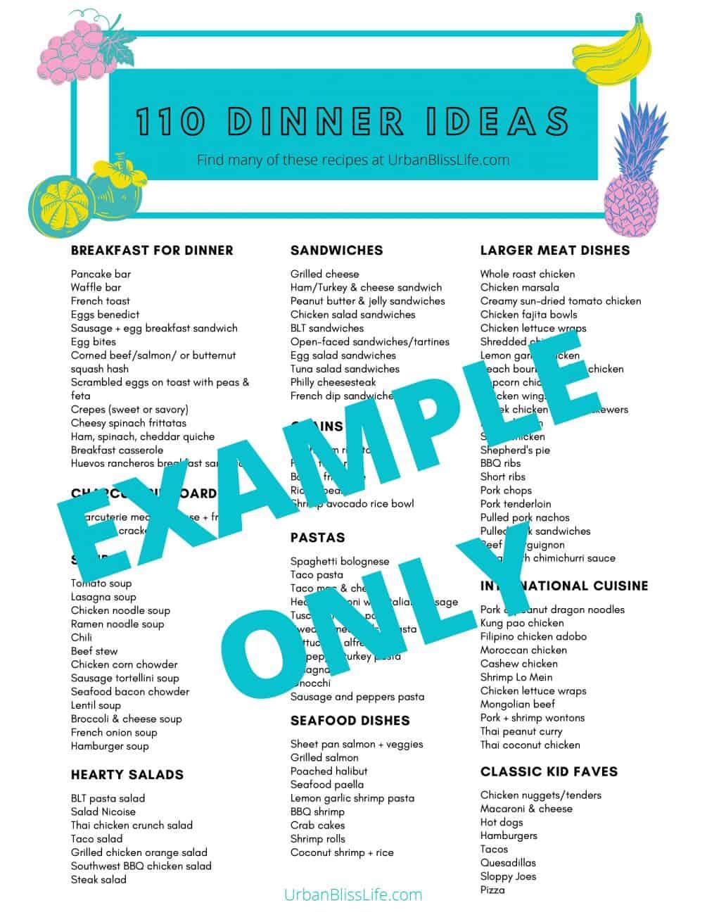 110 Family Friendly Dinner Ideas printable PDF