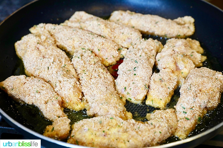 landscape pic of frying chicken tenders