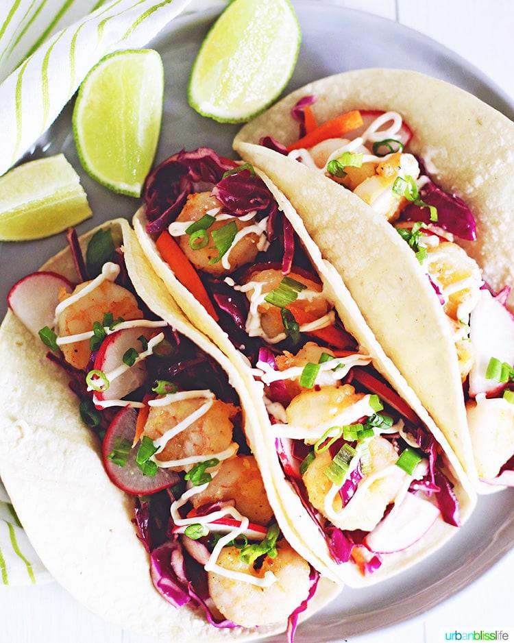 trio of shrimp tacos