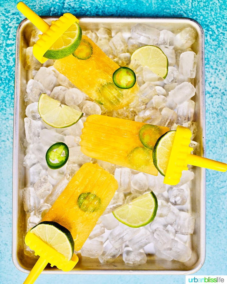 tray trio of Tropical Margarita Popsicles