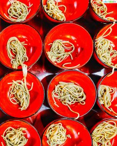 tray of bowls for wanko soba challenge