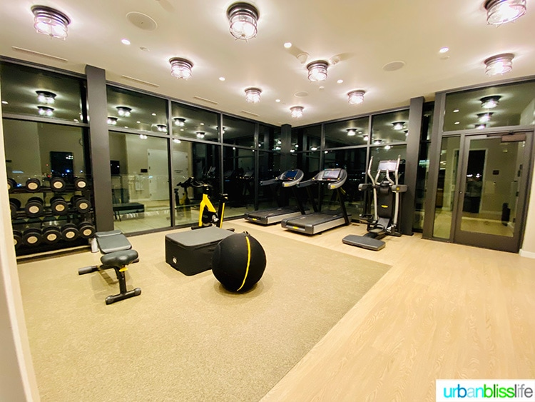 fitness room in Canopy by Hilton Portland hotel