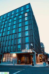 outside of Canopy Hilton, a Pearl District Portland Hotel