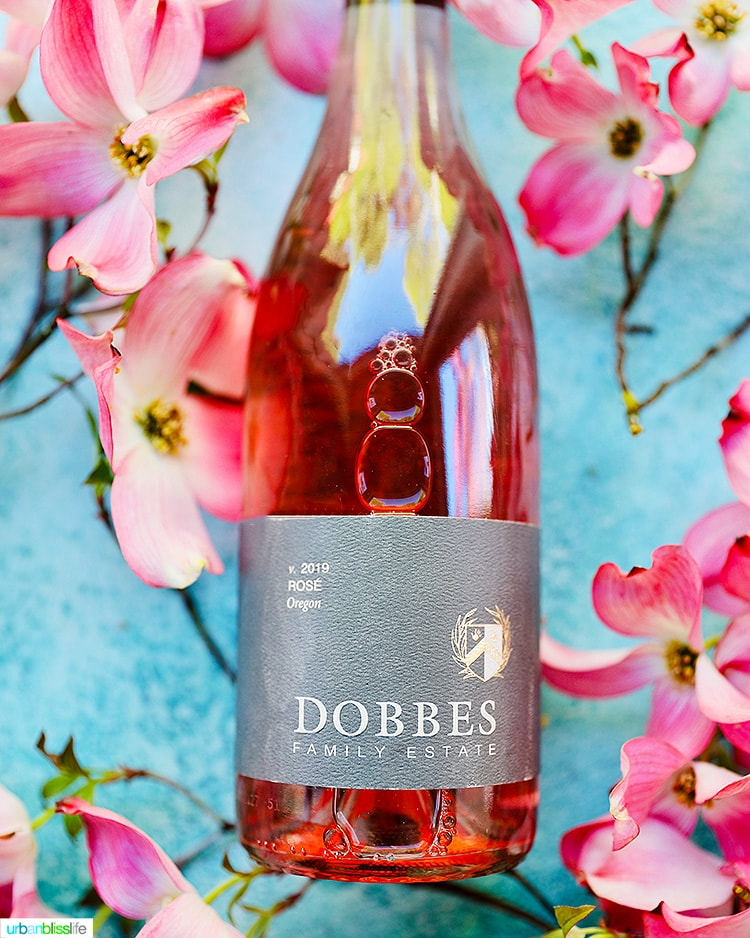 Dobbes Rosé bottle with flowers