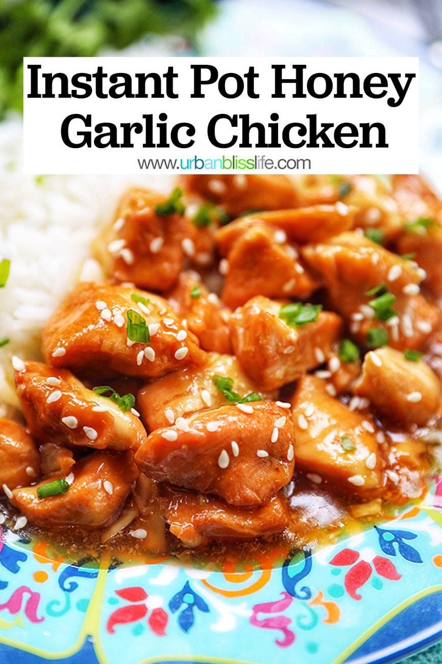 image of Instant Pot Honey Garlic Chicken with text
