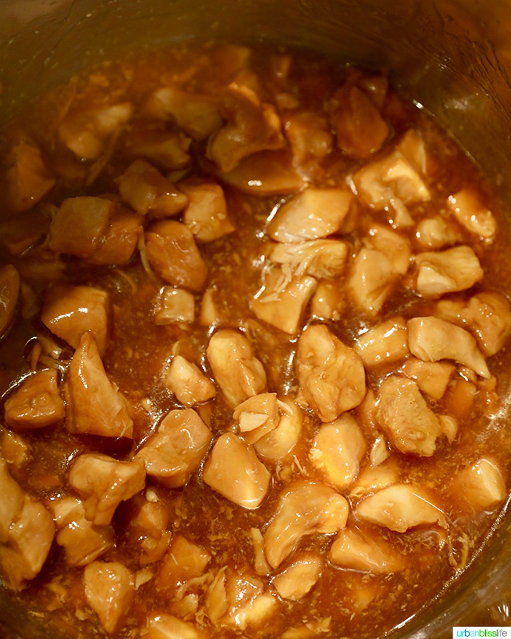 honey garlic chicken cooking in the instant pot