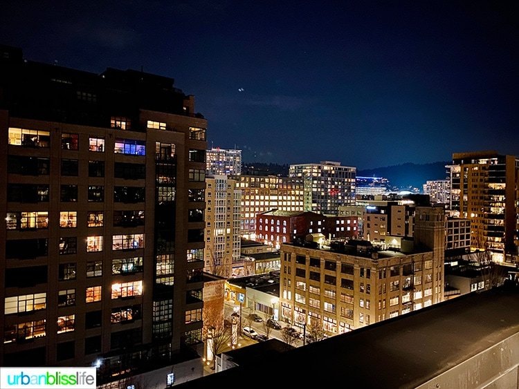 night view of Portland from Canopy Hilton, a Pearl District Portland Hotel