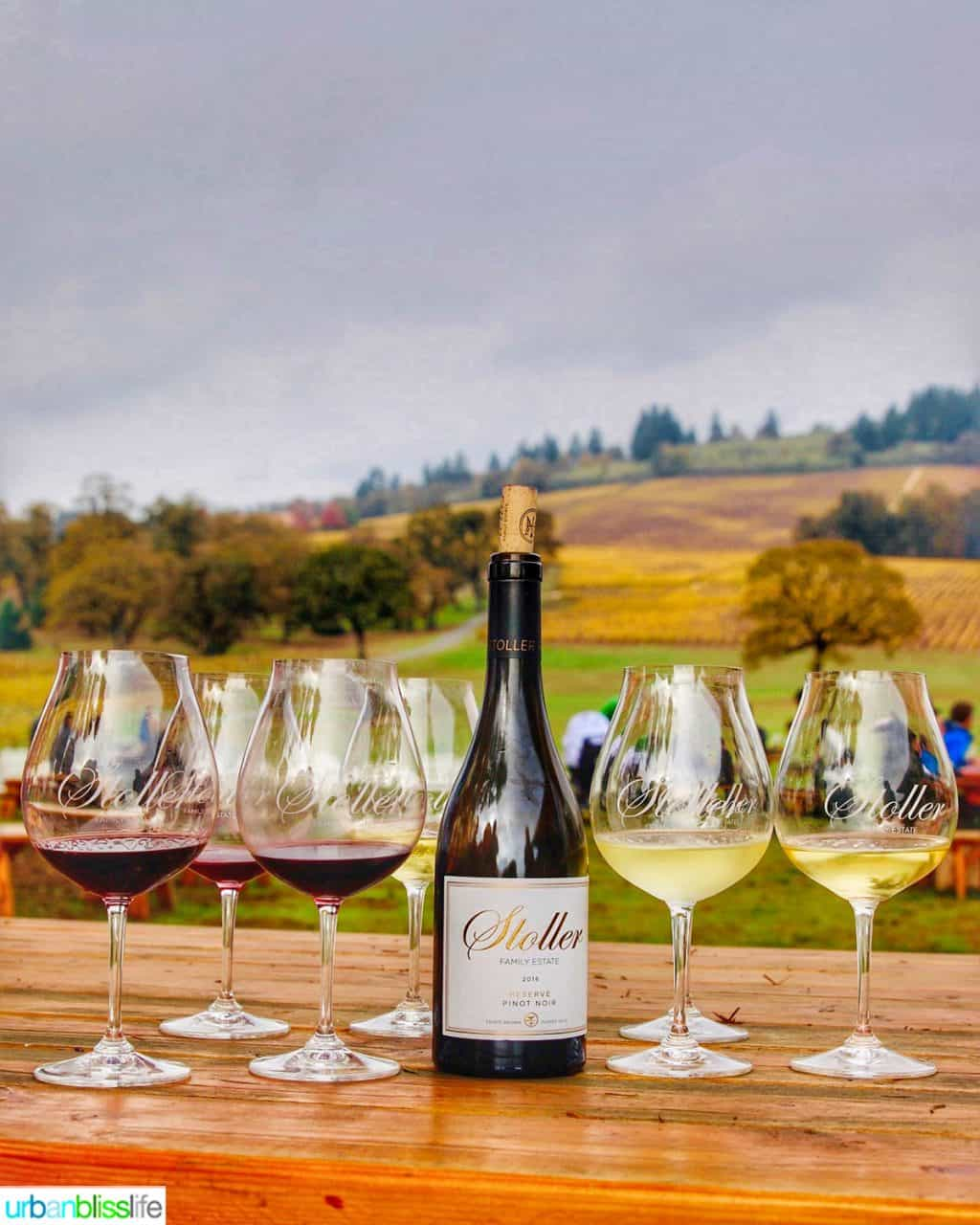 Stoller wine bottle and red and white wine glasses against vineyard backdrop