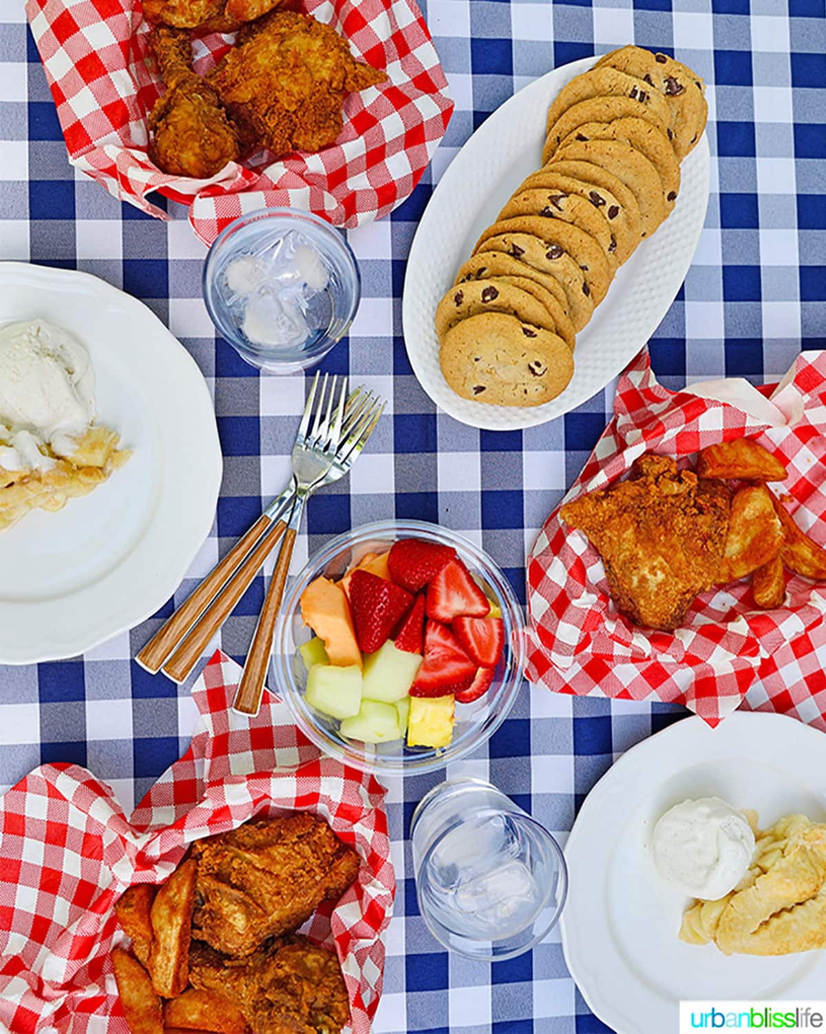 summer outdoor picnic with fried chicken, jo jos, cookies, fruit, on a blue and white checkered tablecloth