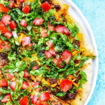 homemade taco pizza feature photo