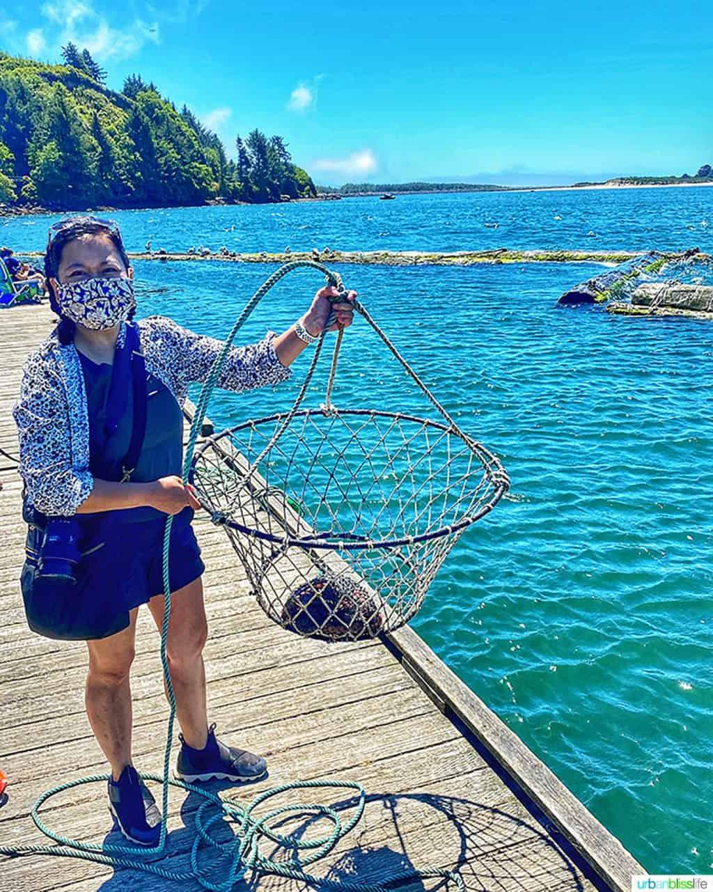 Marlynn Schotland crabbing at Kelly's Brighton Marina in Rockaway, Oregon