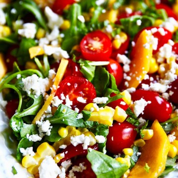 close up of Peach Tomato Salad