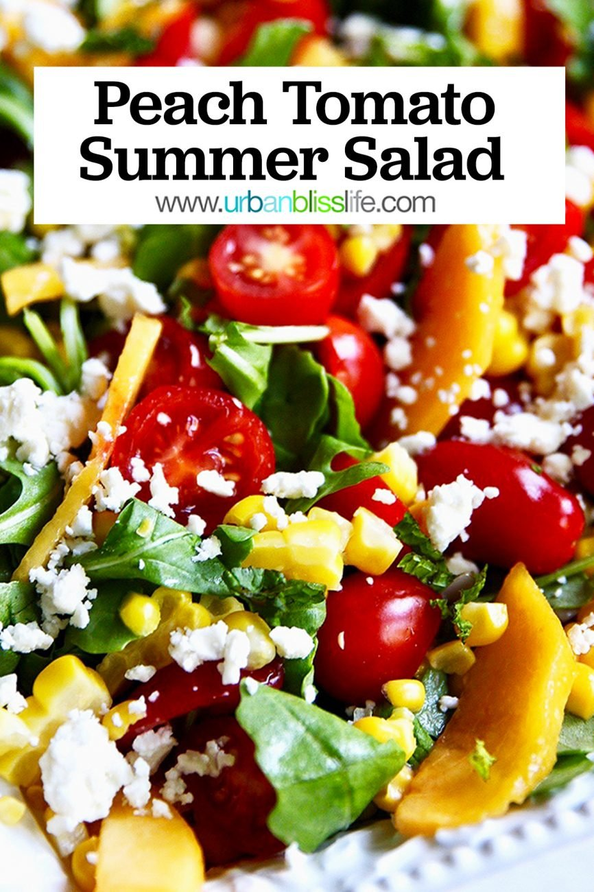 main graphic for Peach Tomato Salad on a platter