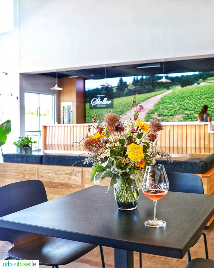 inside welcome glass of Chehalem winery sparkling rosé wine