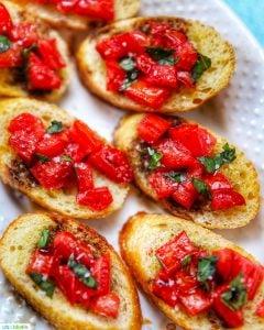 feature photo of classic tomato bruschetta with balsamic vinegar