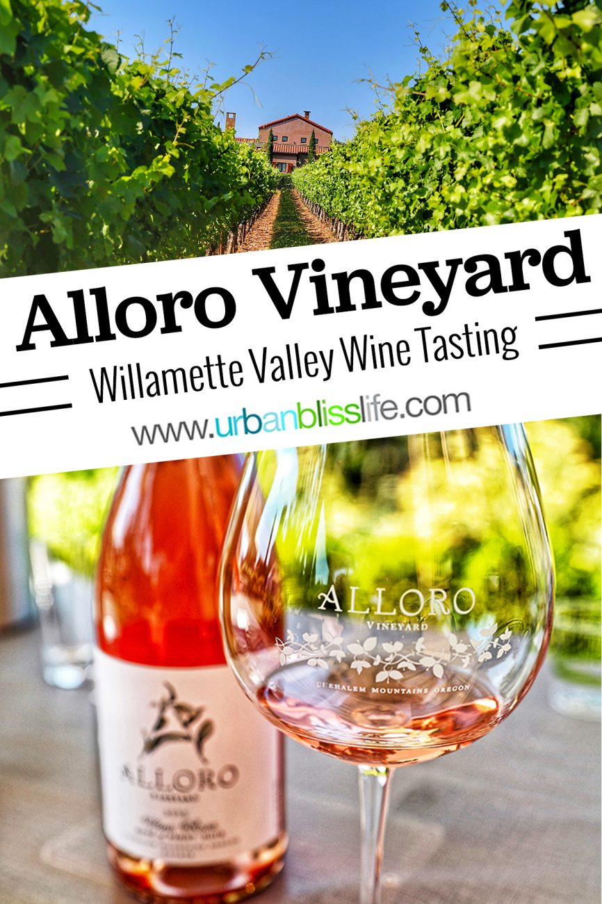 Alloro Vineyard title text with vineyard image and rosé in glass and bottle
