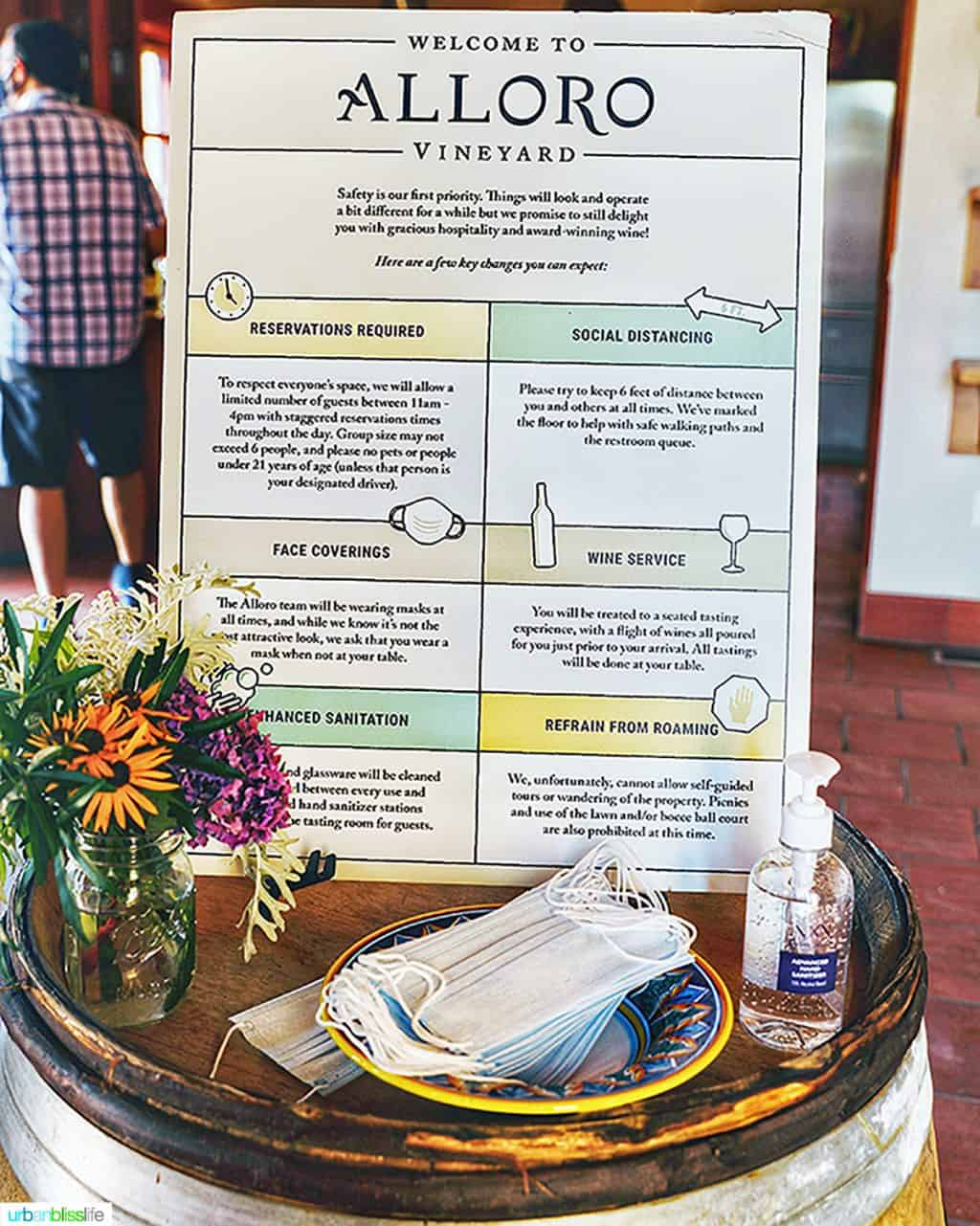 COVID safety guidelines for wine tasting at Alloro Vineyards