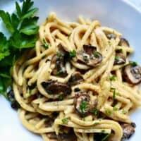 Creamy Pasta with Crispy Mushrooms FEATURE