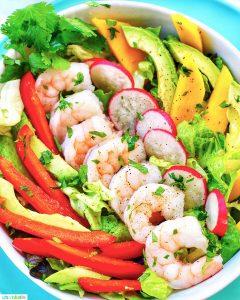 bowl of keto whole30 healthy shrimp salad
