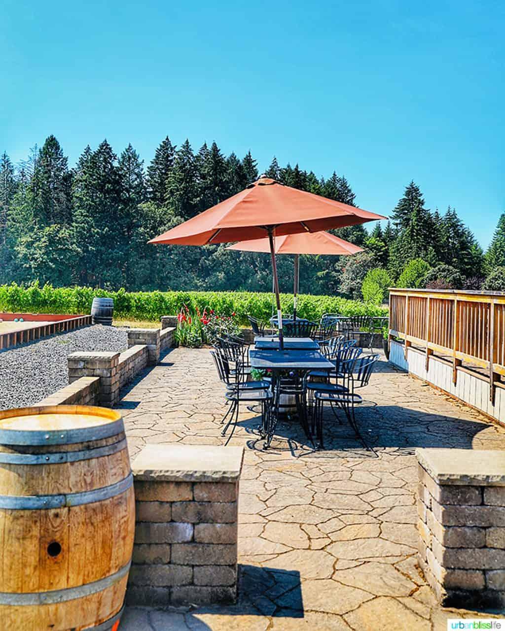 patio tables at Utopia Vineyard