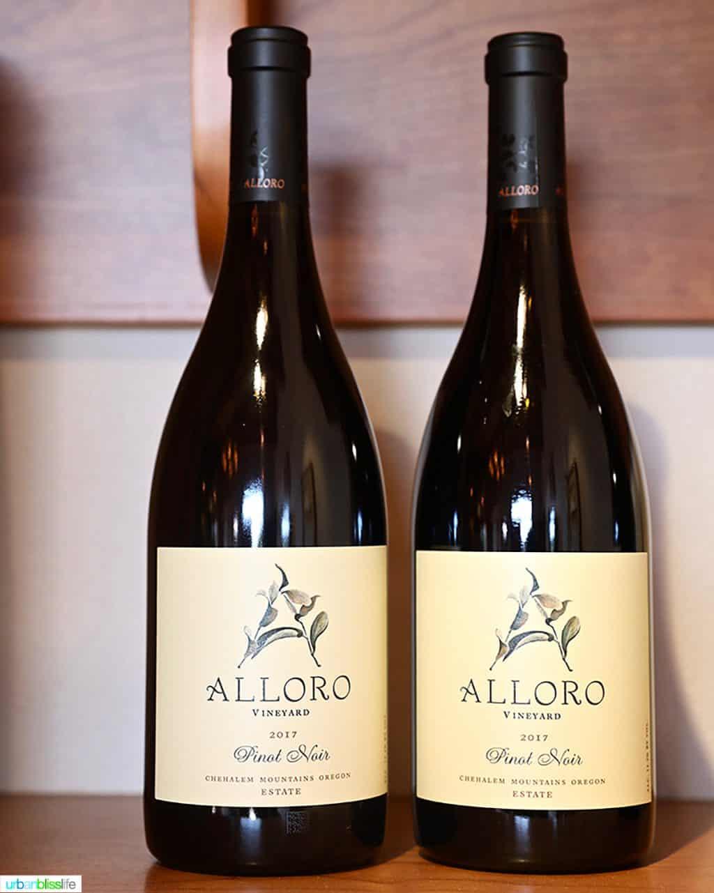 two bottles of Alloro Vineyard Pinot Noir