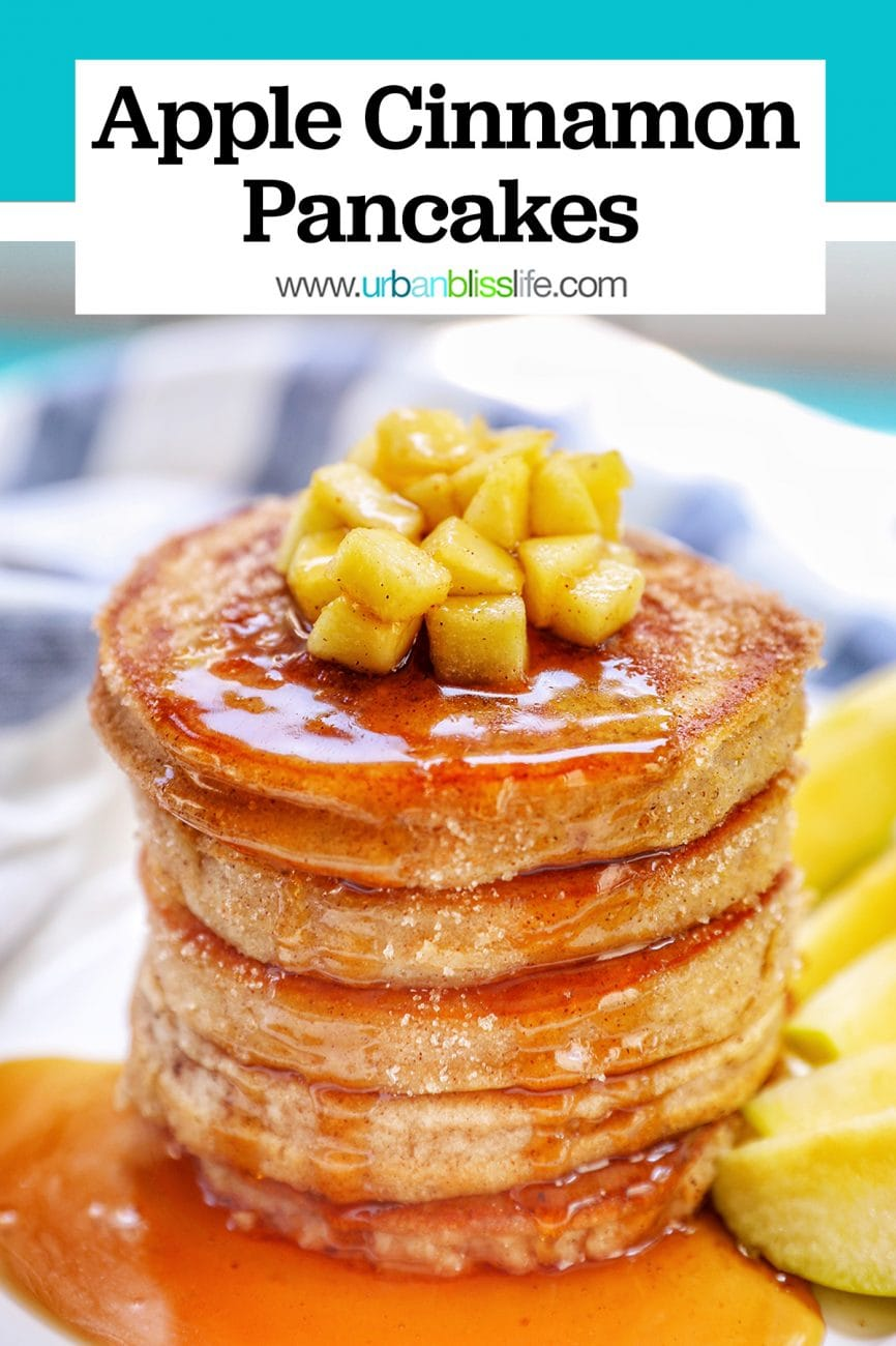 big stack of fluffy pple cinnamon pancakes with syrup and title text