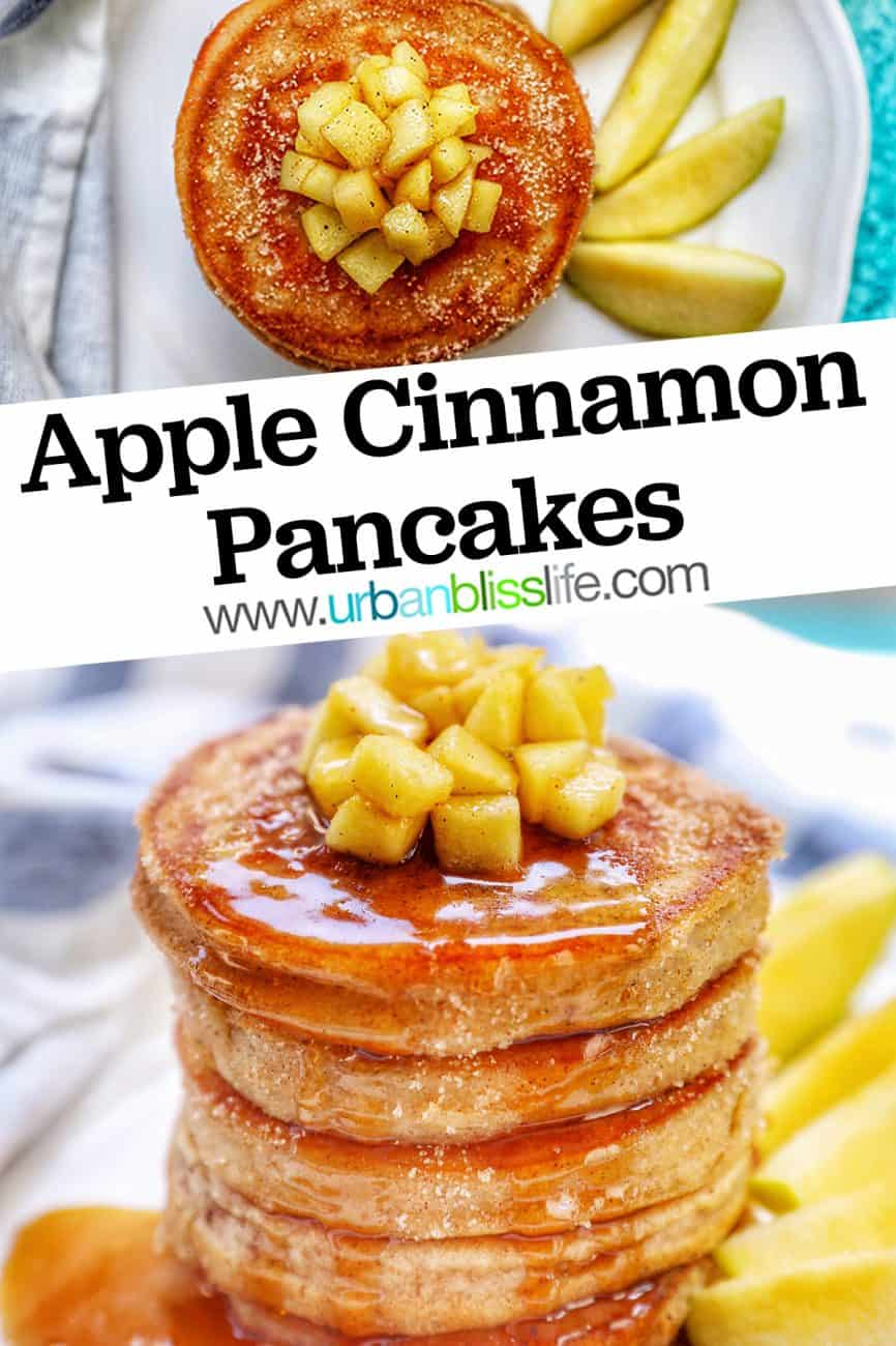 two pictures of pple cinnamon pancakes with title text overlay