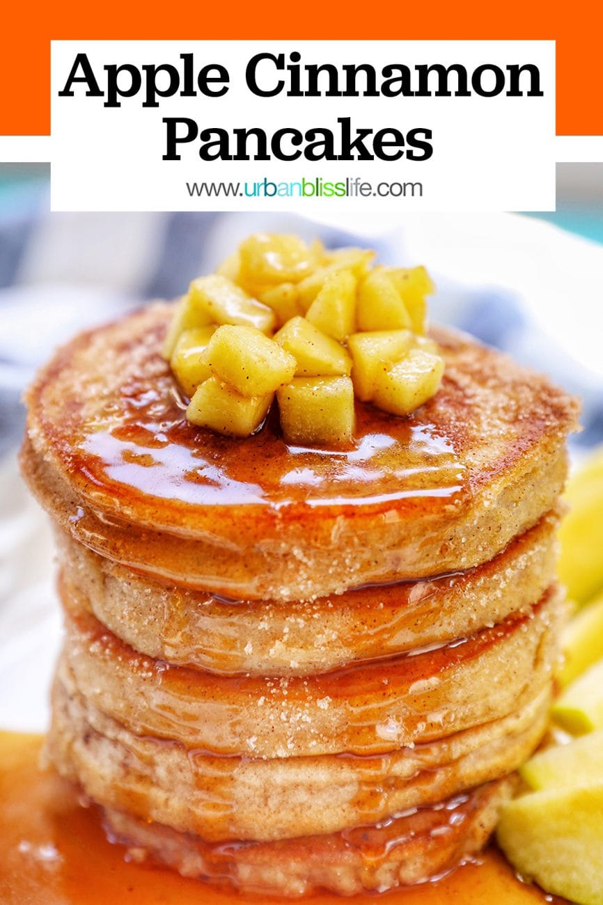 stack of pple cinnamon pancakes with title text
