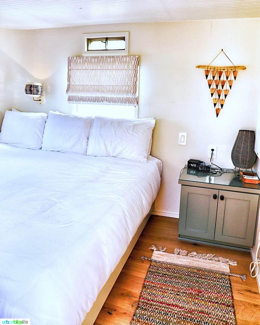 bedroom of mansion airstream at Vintages Trailer Resort